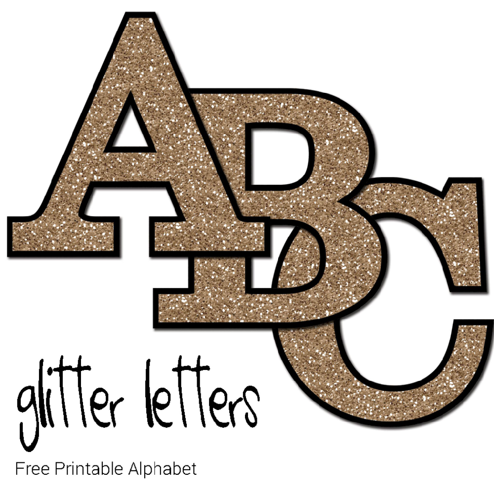 Free Printable Gold Glitter Letters