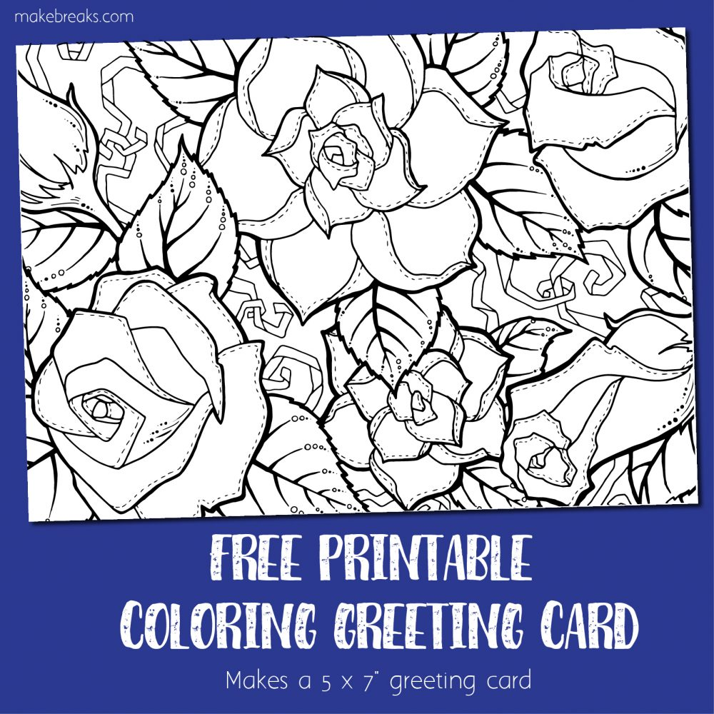 Coloring Card 3 – Greeting Card to Color (Roses)