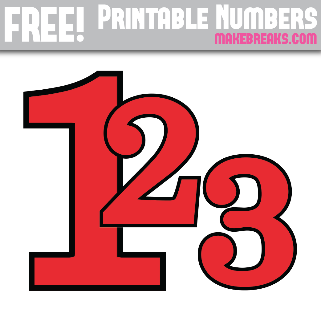 Red With Black Edge Printable Numbers 0 – 9