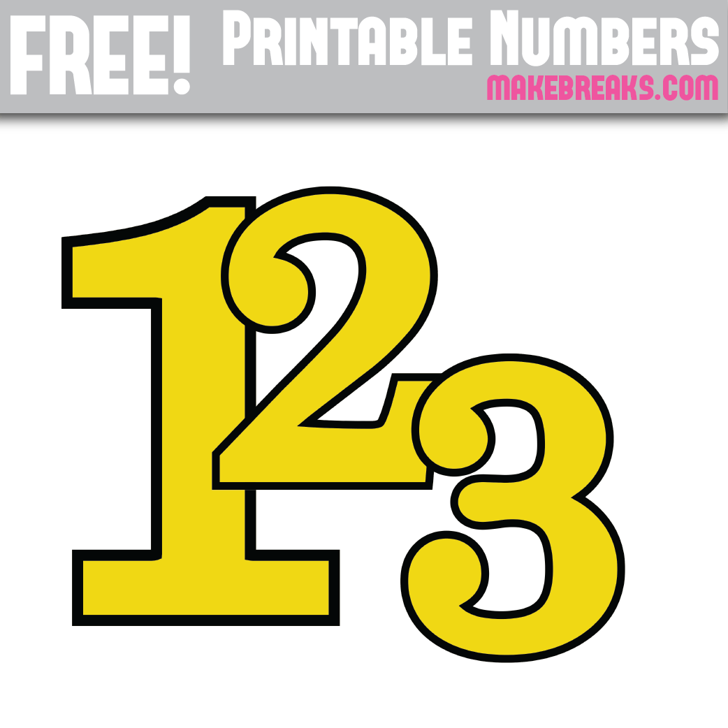 Yellow With Black Edge Printable Numbers 0 – 9