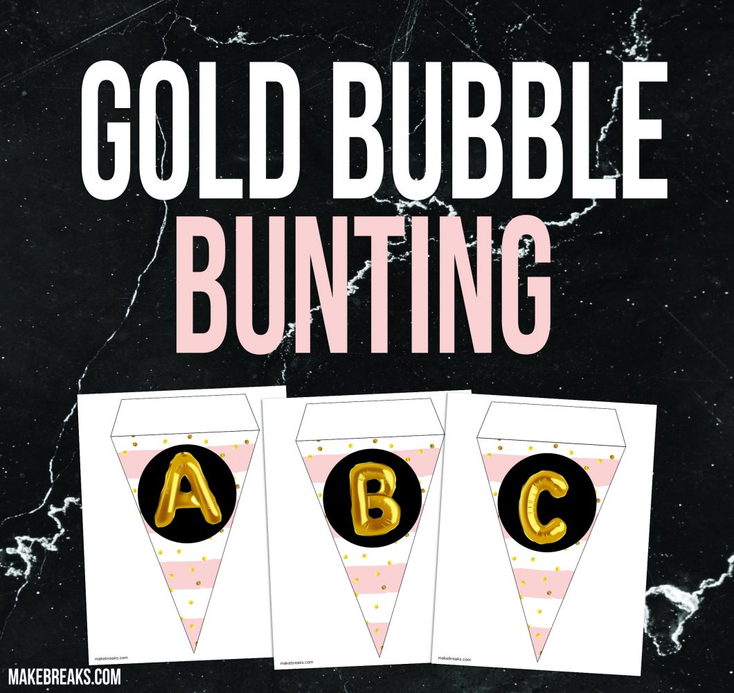Gold and Pink Alphabet Bunting Template