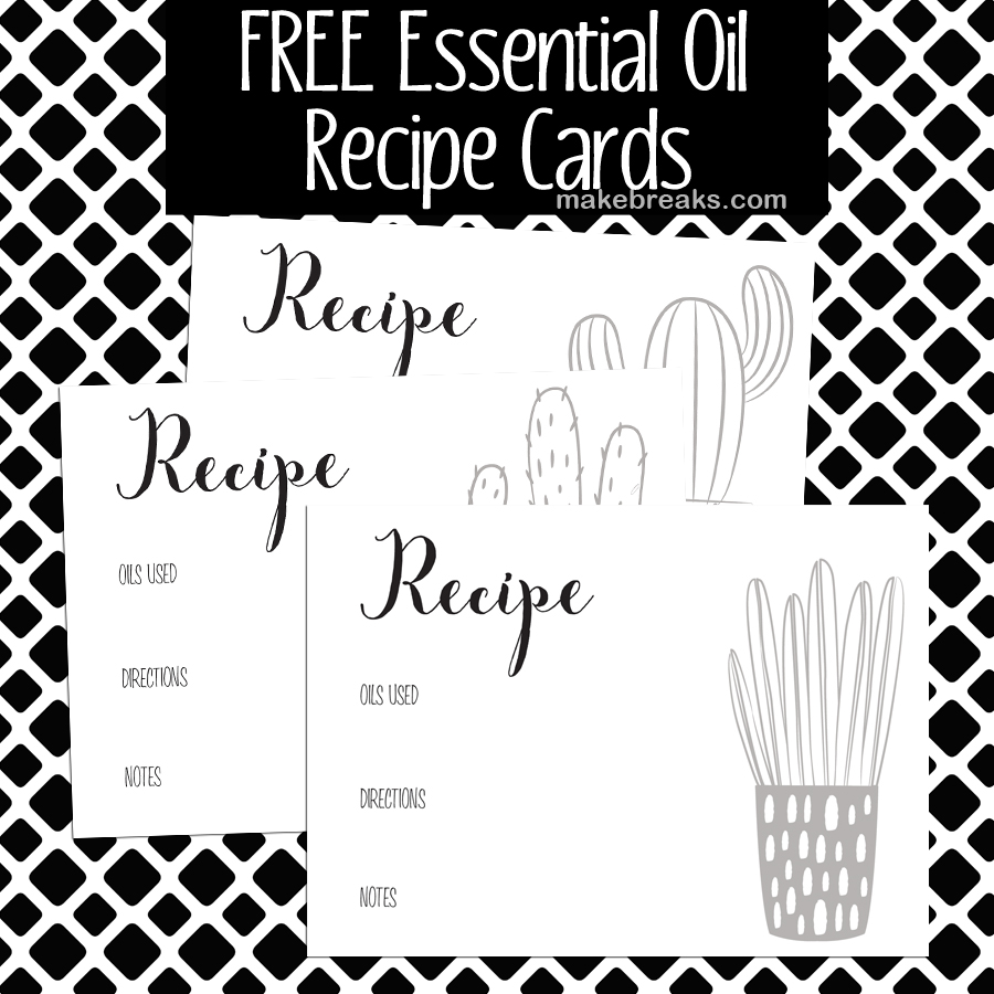 Free essential oils recipe cards in black and white for easy printing.
