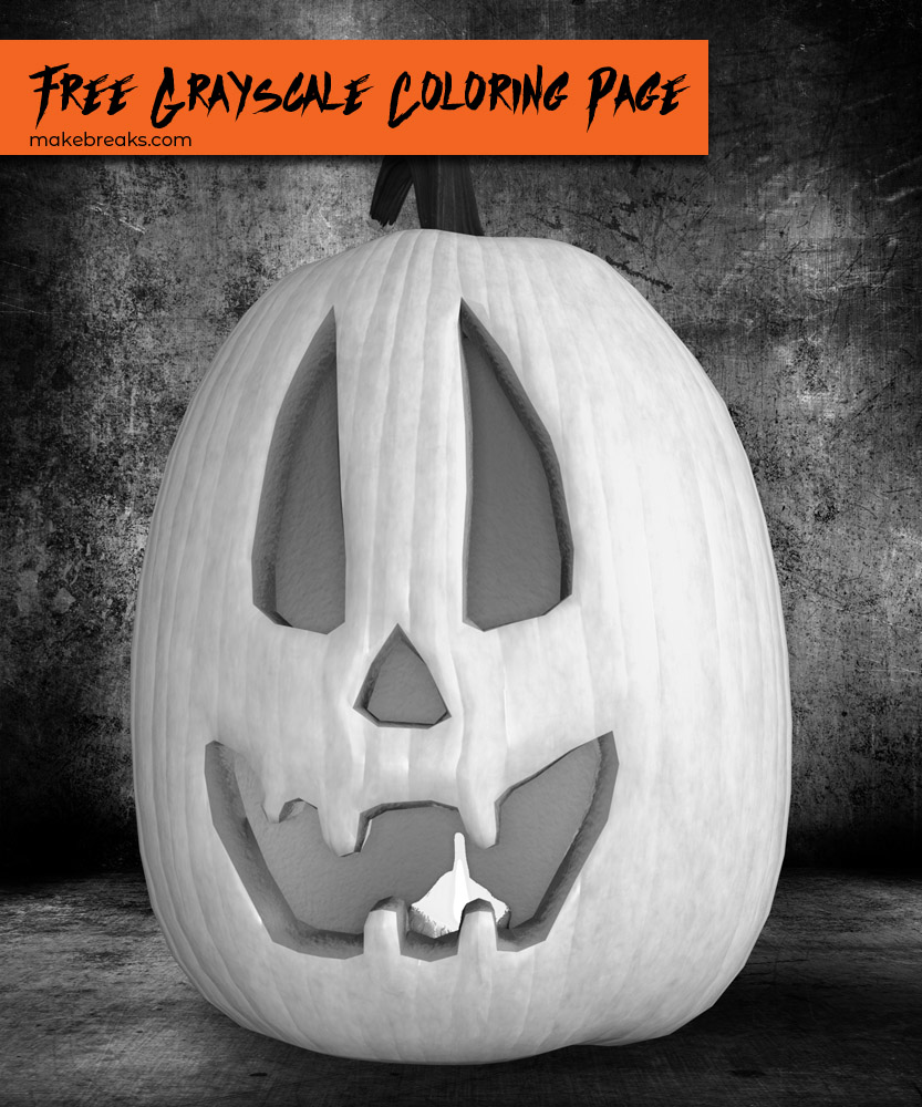 Free Grayscale Jack O Lantern to Color for Halloween v2