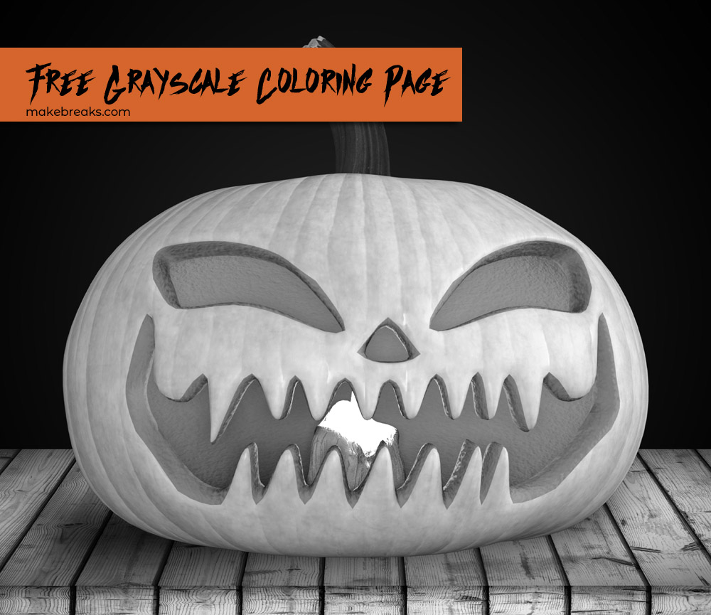 Free Grayscale Jack O Lantern to Color for Halloween v3