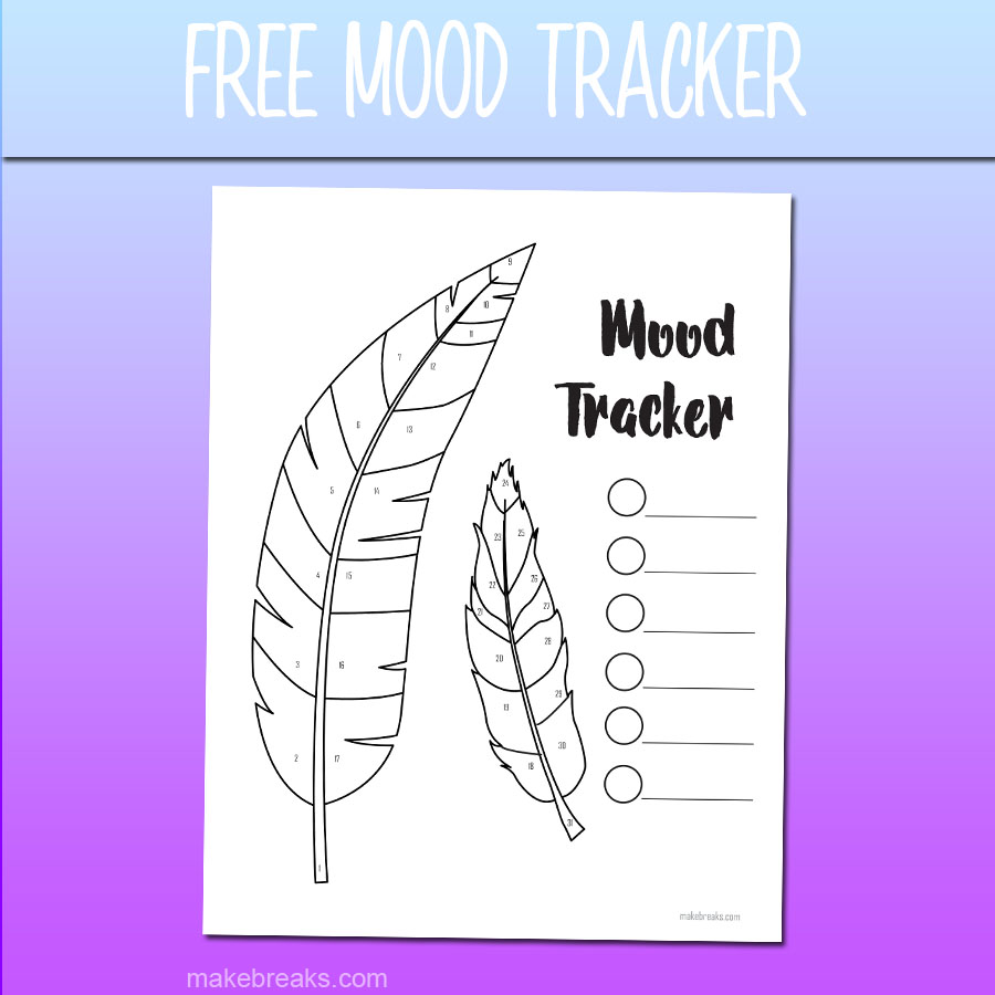Free Undated Feather Free Mood Tracker Tracking Page