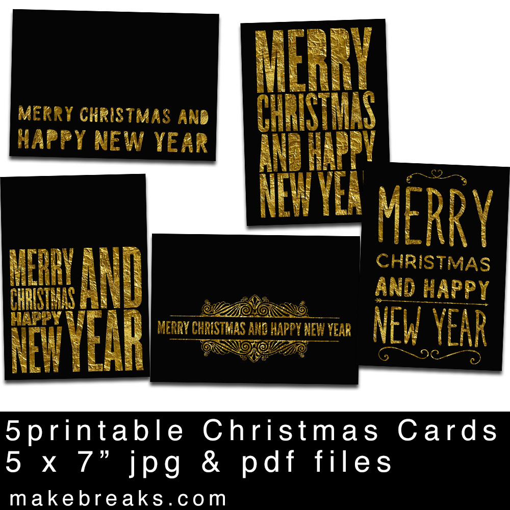 Free Black and Gold Christmas Cards