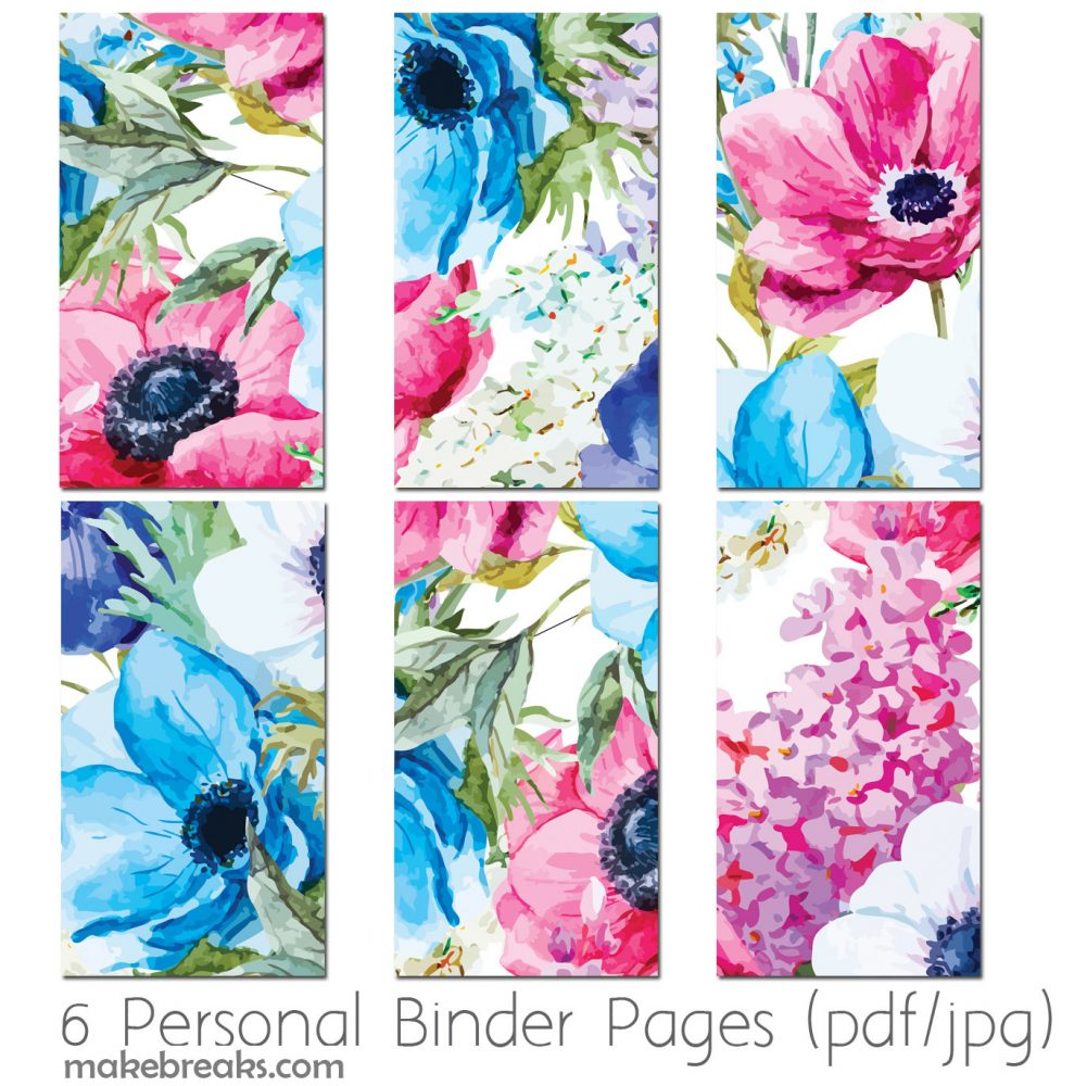 Free Personal Size Planner Dividers With Blue Floral Design