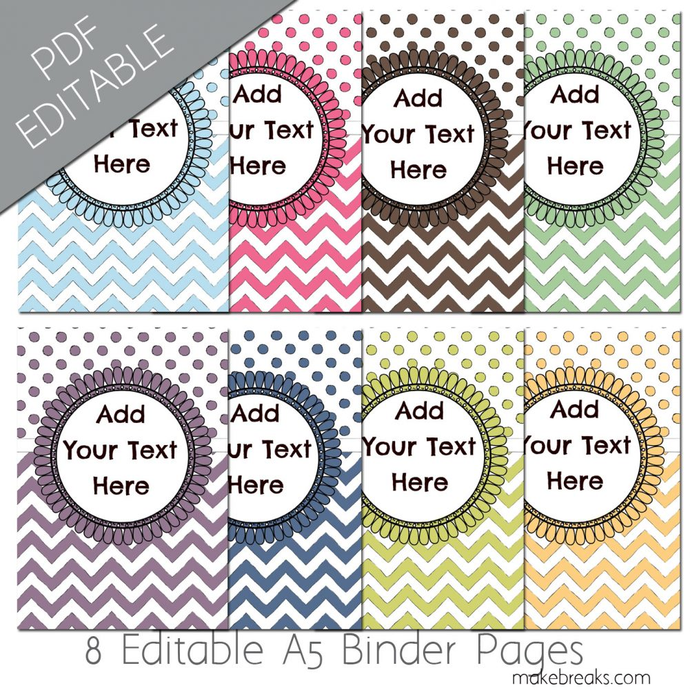 Free A5 Planner Dividers With Chevron Pattern