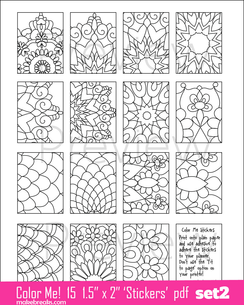 Coloring Page Planner Stickers Set 2