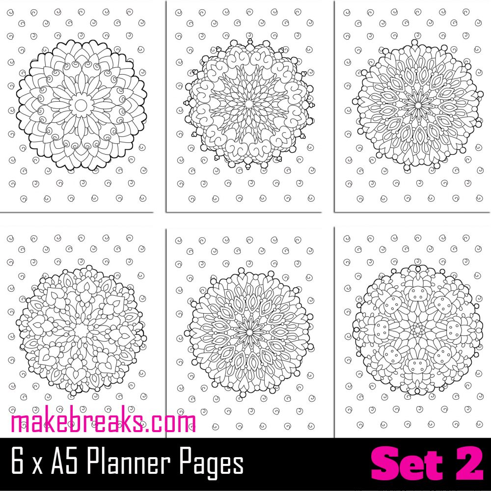 Mandala coloring pages for a5 planner