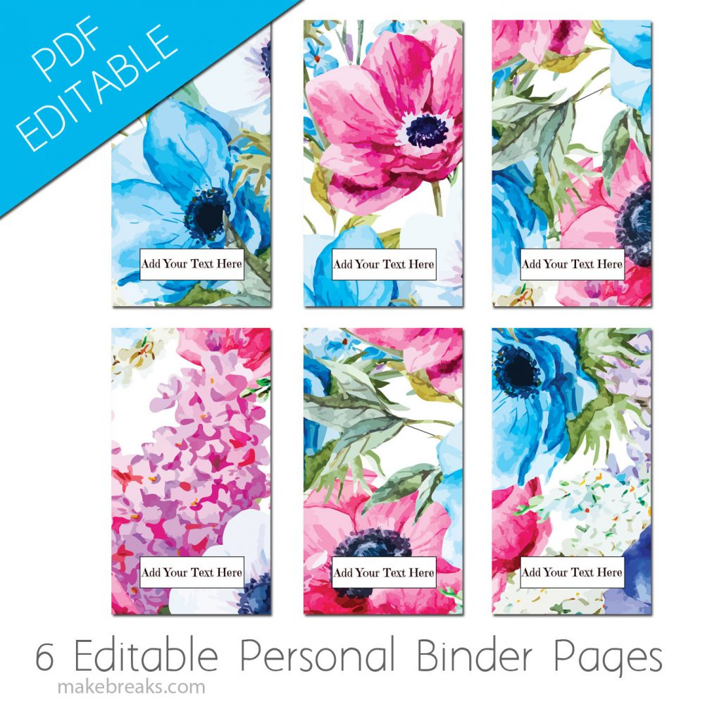 Free EDITABLE Personal Size Planner Dividers With Blue Floral Design