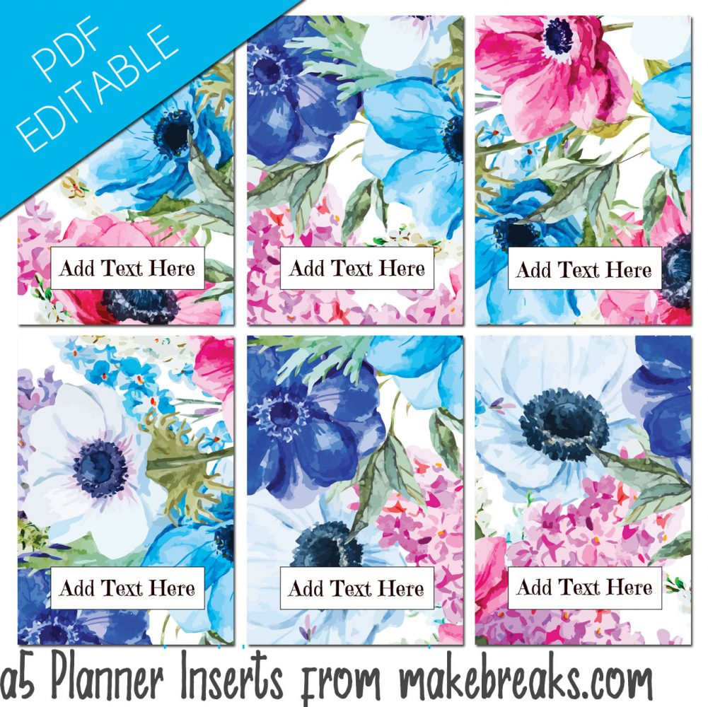 EDITABLE Free A5 Planner Dividers With Blue Floral Design