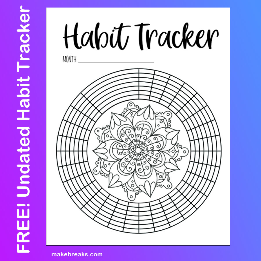 Undated Habit Tracker With Mandala to Color