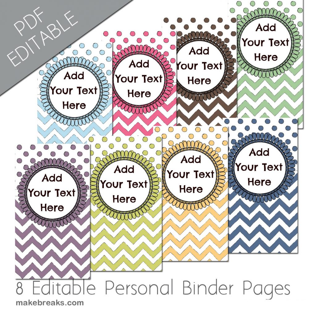 Free Personal Planner Dividers With Chevron Pattern