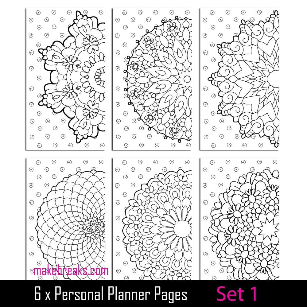 Coloring Page Personal Planner Dividers – Set 1