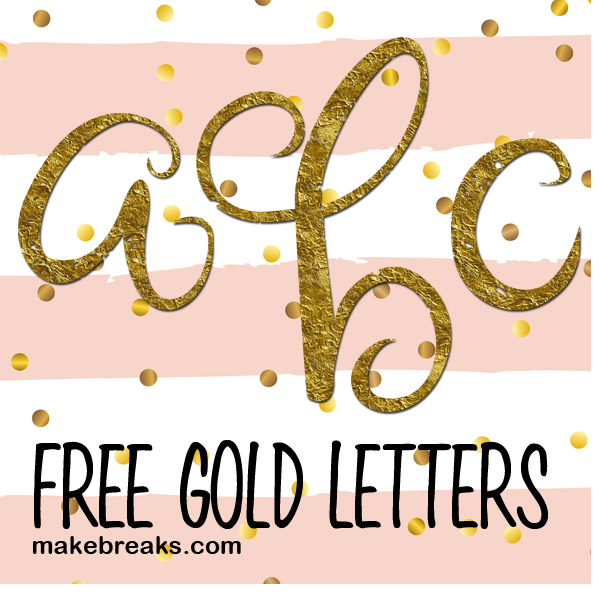 Free gold foil effect letters in a script style with a slight distressed look