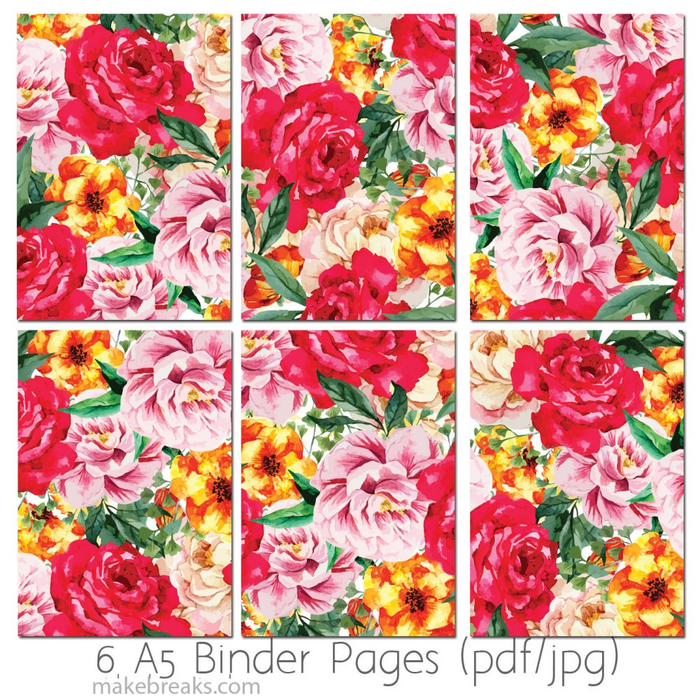 Free A5 Planner Dividers With Red Rose Pattern