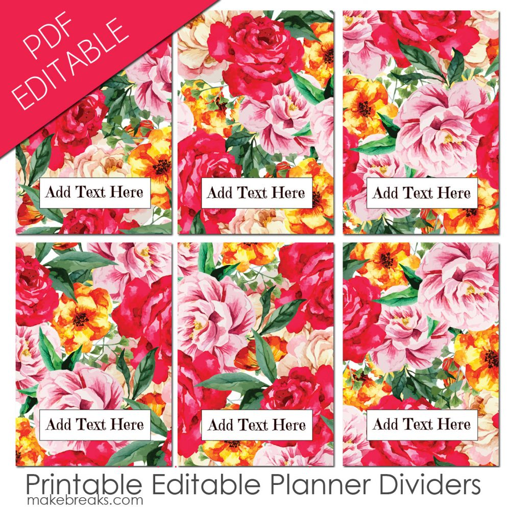 EDITABLE Free A5 Planner Dividers With Red Rose Pattern