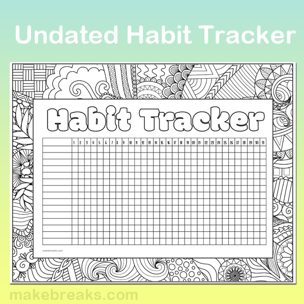 Undated Habit Tracker to Color