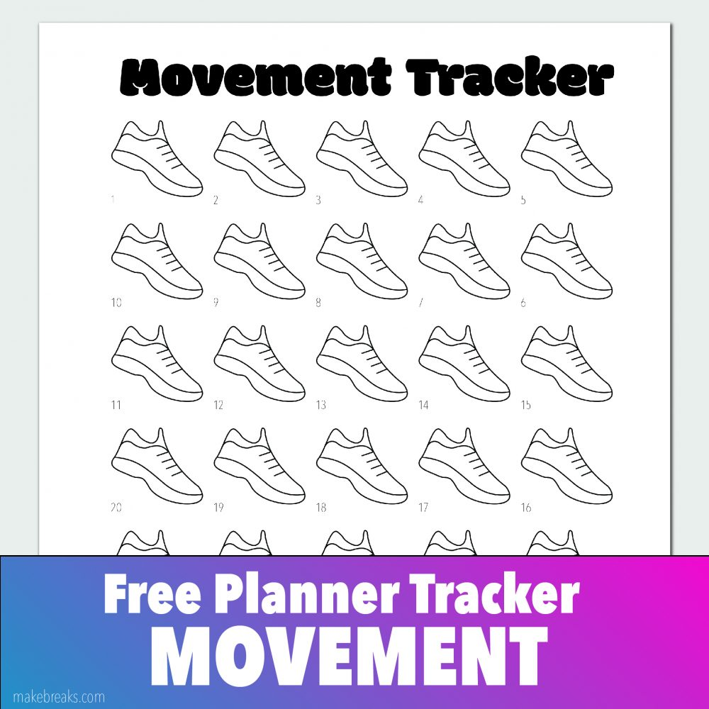 Free Exercise / Movement Tracker for Bullet Journals and Planners