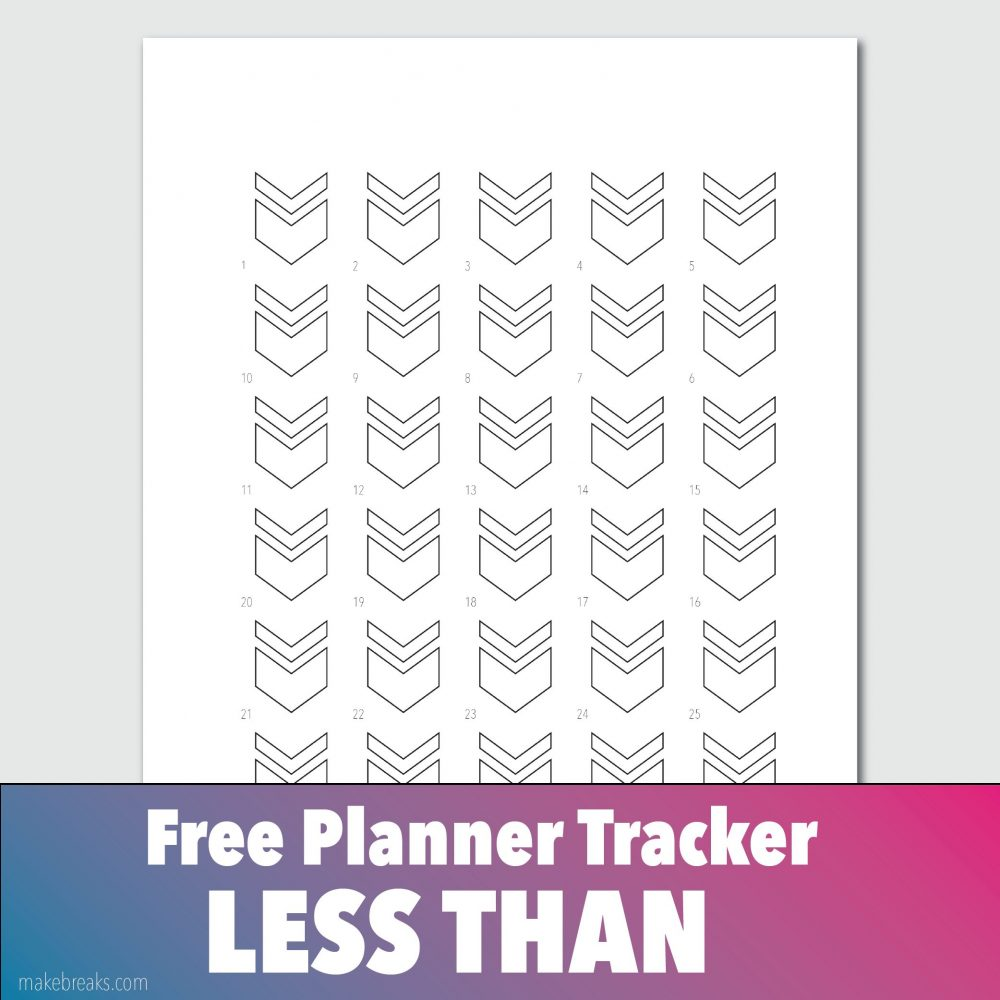 Free General 'Less Than' Tracker 2 for Bullet Journals and Planners