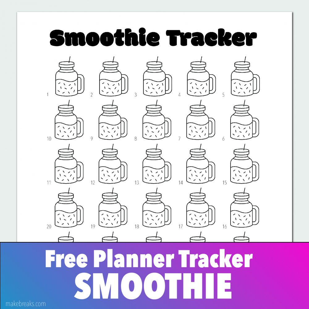 Smoothie Tracker for Bullet Journals and Planners