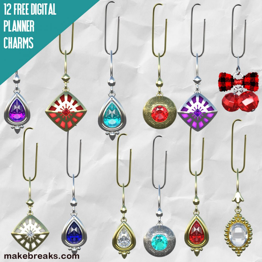 12 Jeweled Free Digital Planner Charms