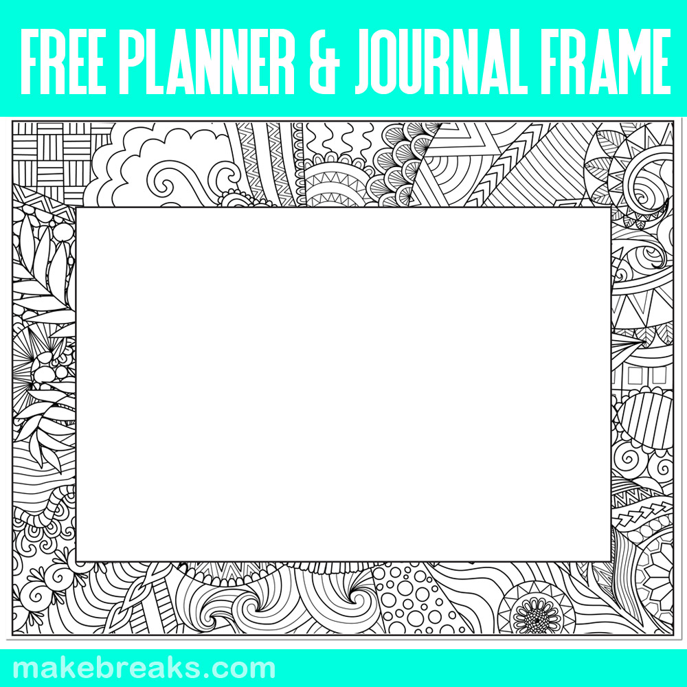 Empty Planner and Journal Frame to Color