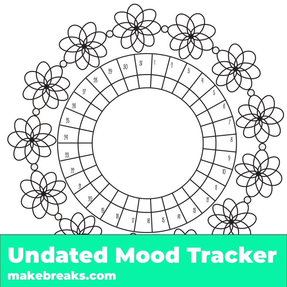 Free printable floral mood tracker - mood tracker with a floral pattern