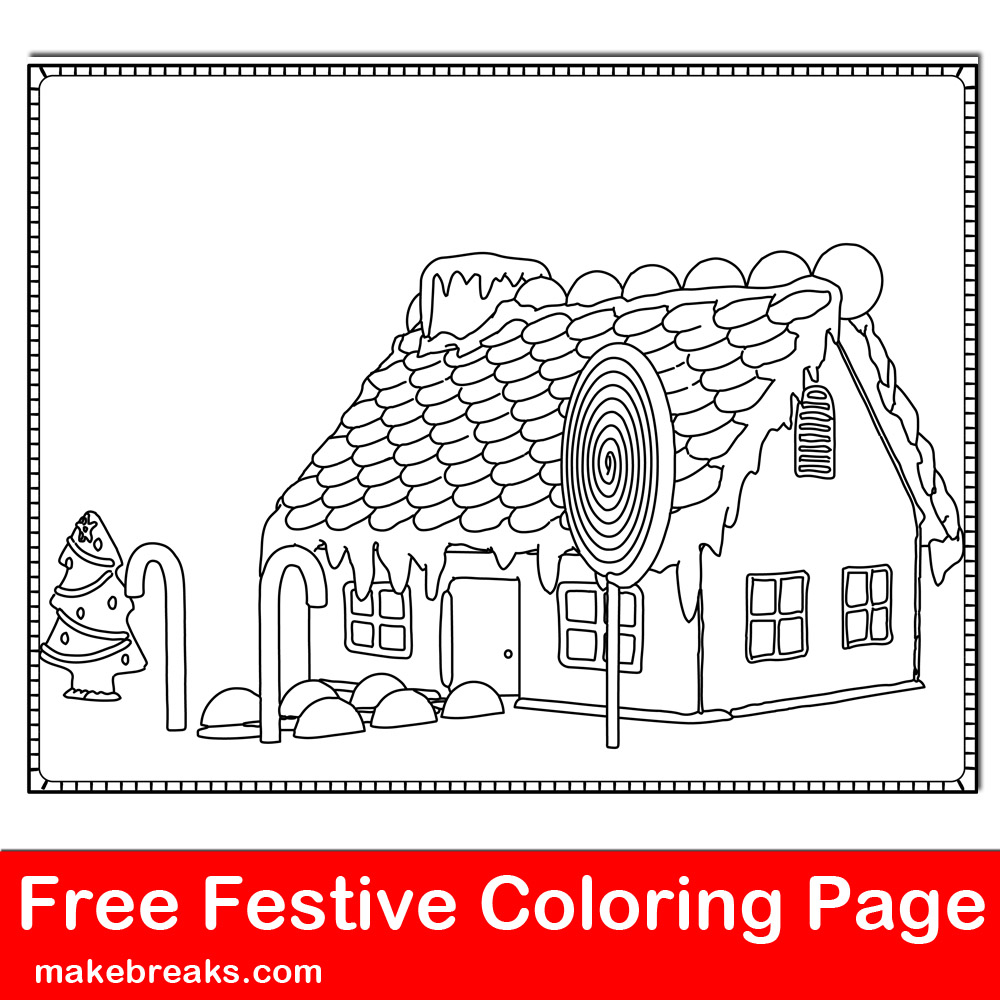 Free Gingerbread House Coloring Page 2