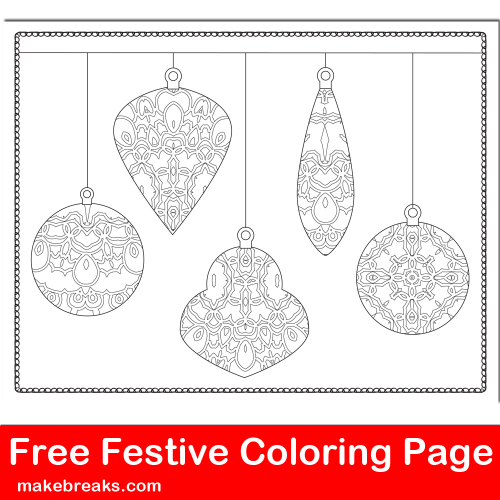 Free Christmas Holiday Ornament Coloring Page