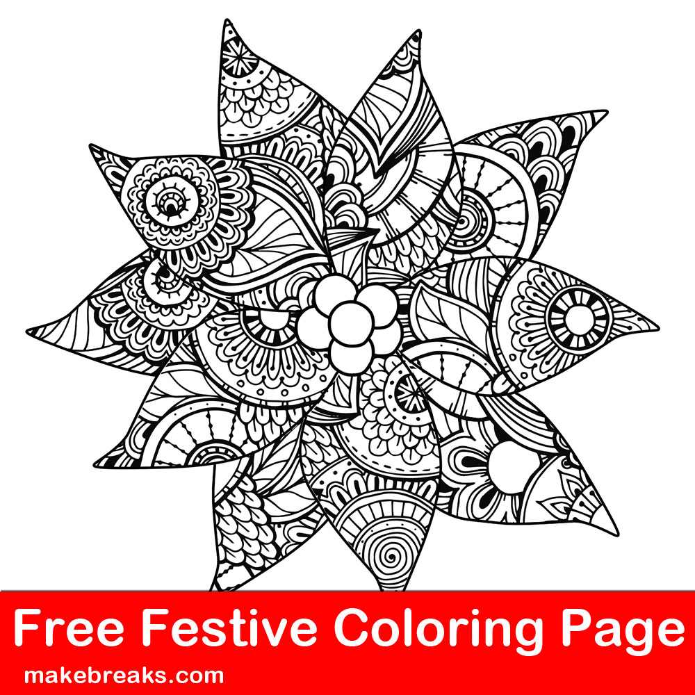 Free Christmas Holiday Detailed Patterned Poinsettia Coloring Page