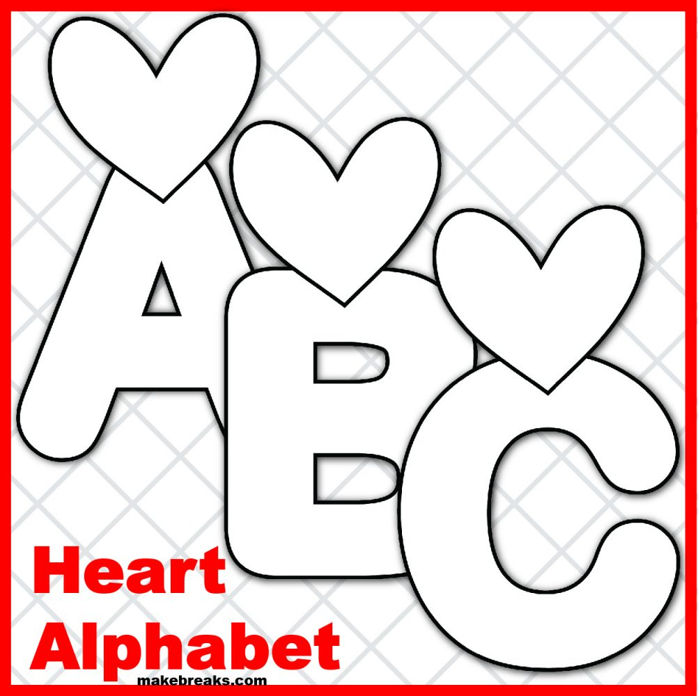 Free Heart Printable Alphabet for Valentine's Day- Black and White