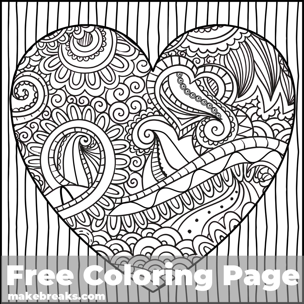 Patterned Heart Free Valentine's Day and Romantic Themed Coloring Page