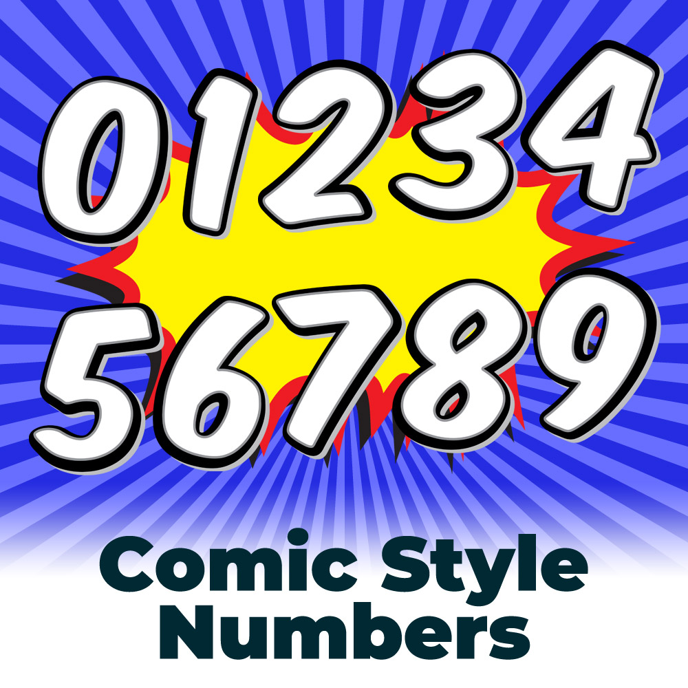 Free Mono Comic Book Style Numbers