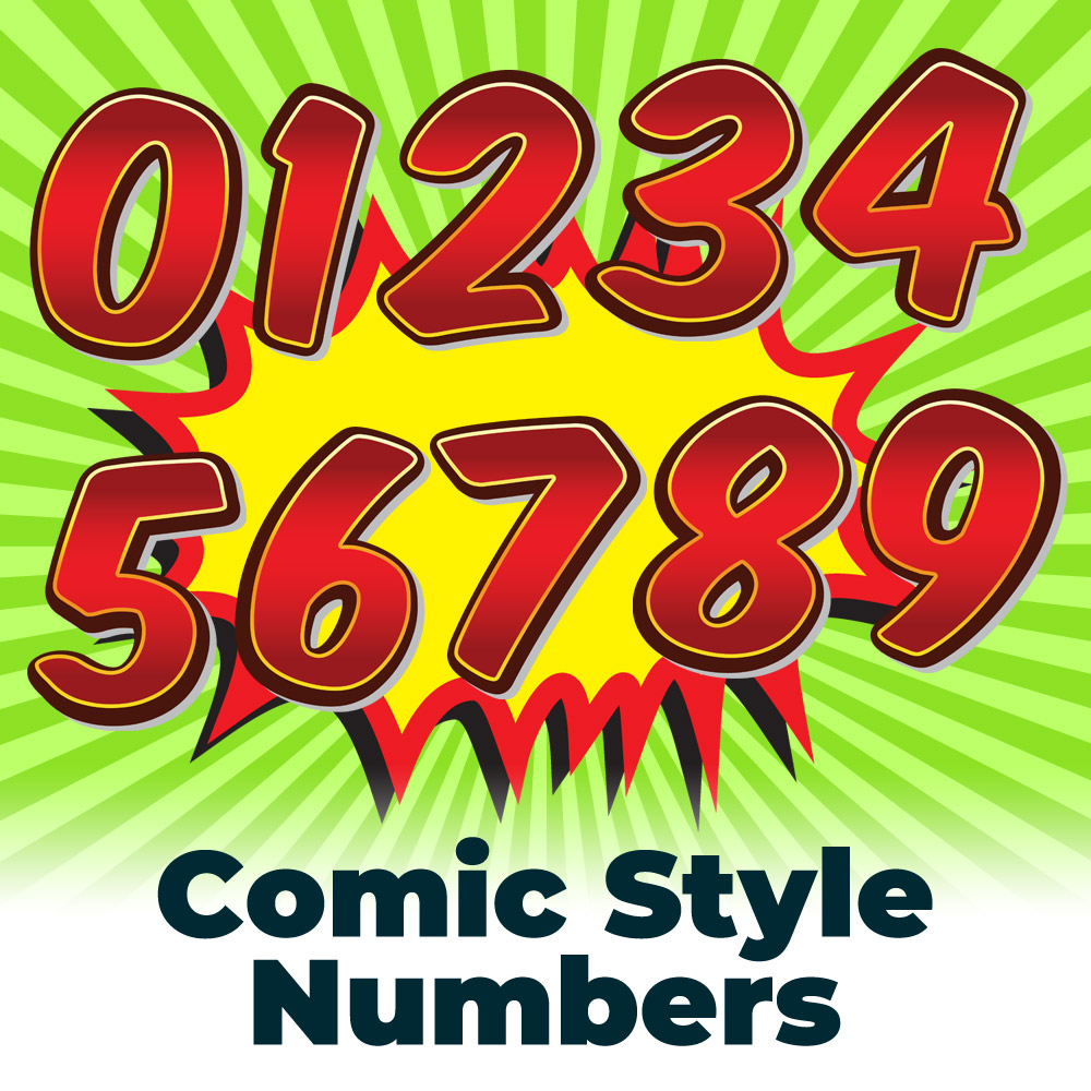 Free Comic Book Style Numbers