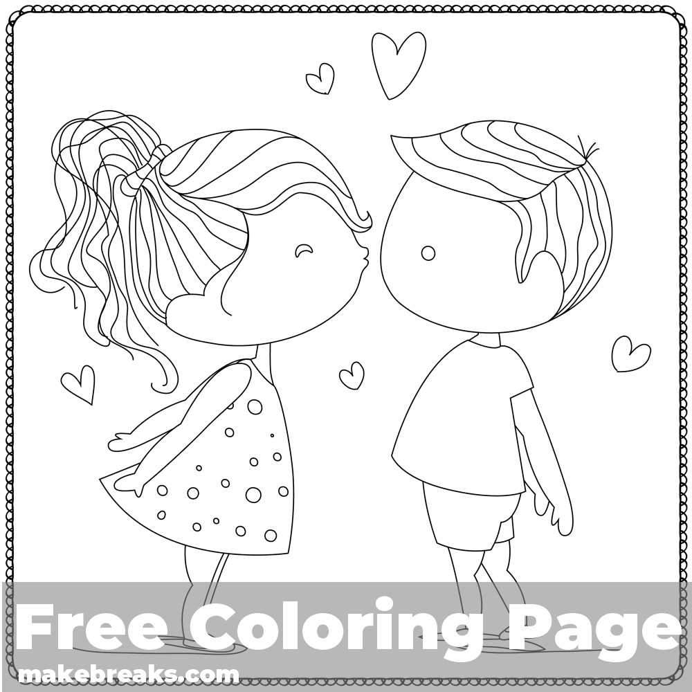 Give Me a Kiss Coloring Page