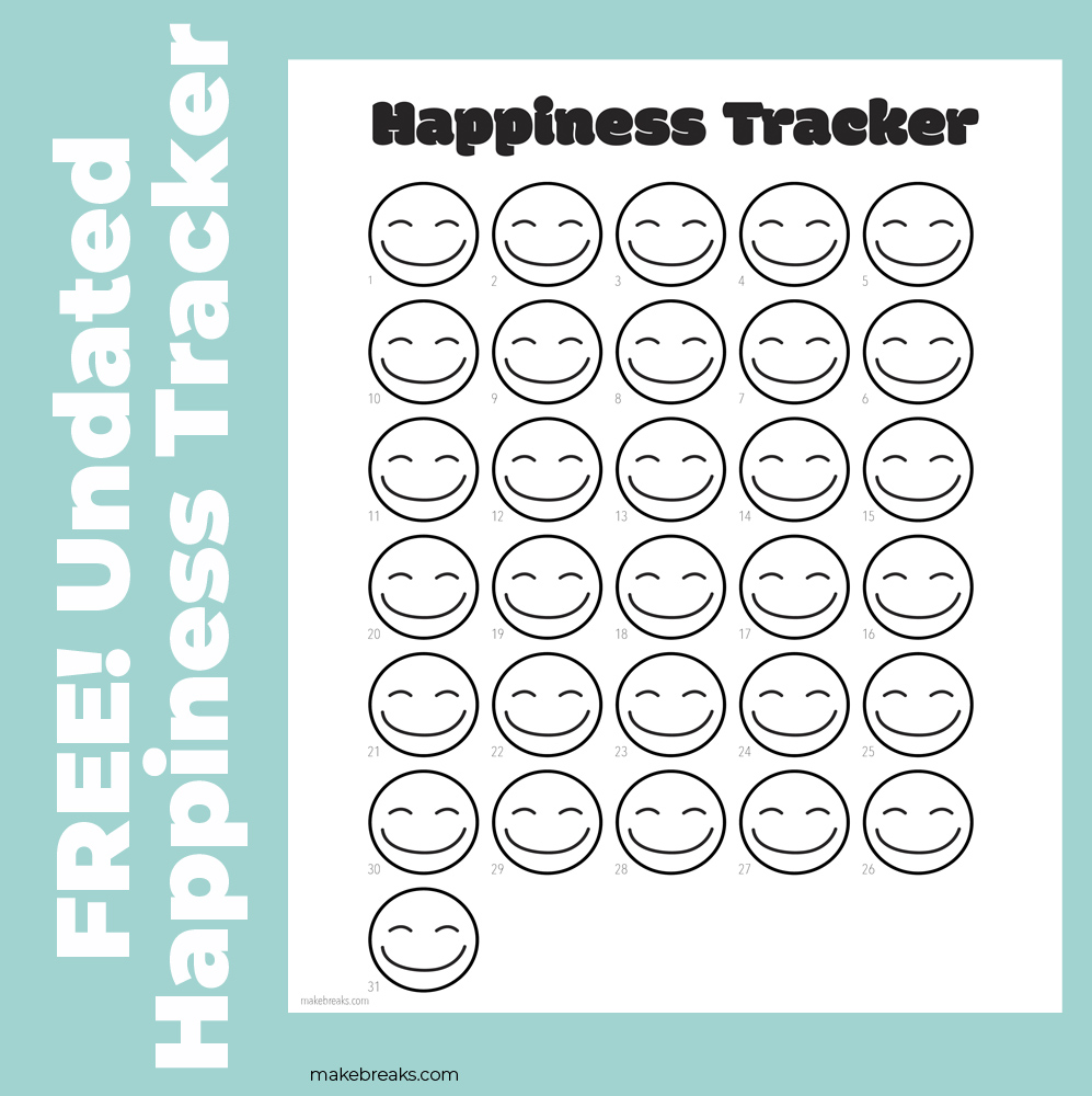 Happiness Tracker for Bullet Journals and Planners