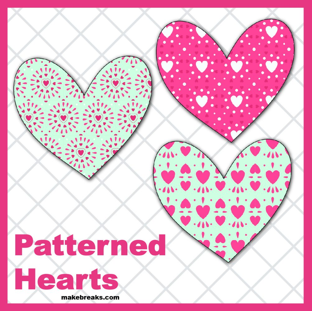 Free Printable Patterned Hearts