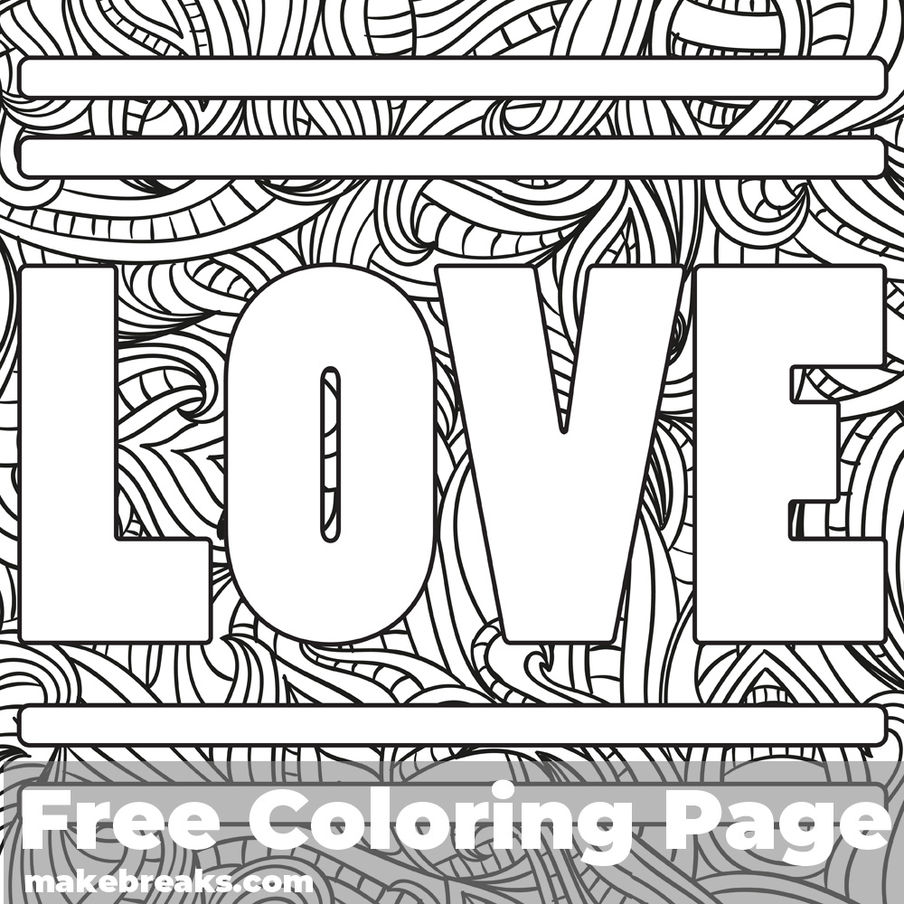 Love Word Free Valentine's Day and Romantic Themed Coloring Page