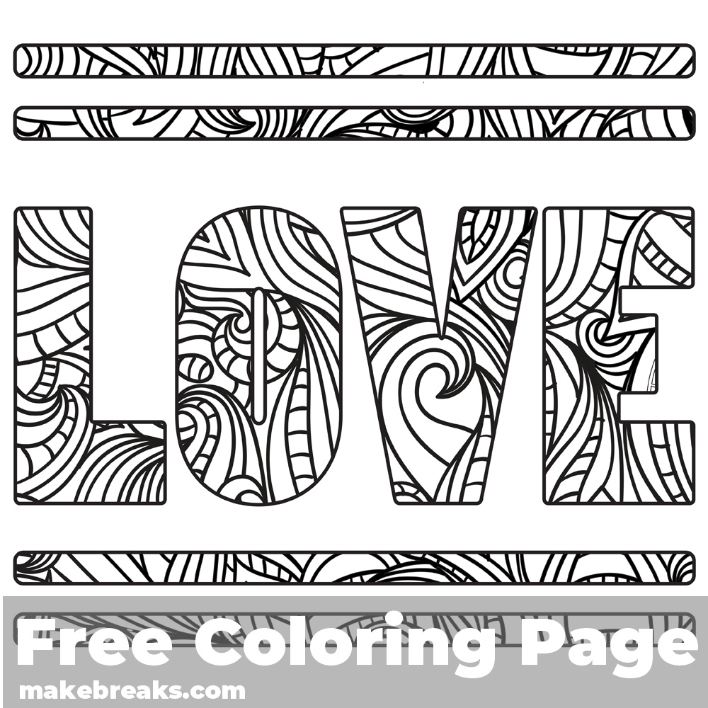 Love Word 2 Free Valentine's Day and Romantic Themed Coloring Page