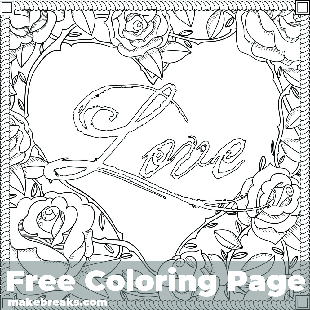Love Frame Free Valentine's Day and Romantic Themed Coloring Page