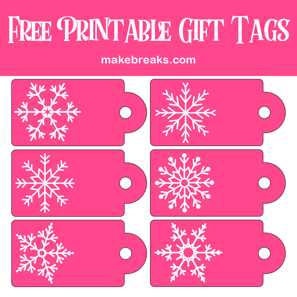 Pink and White Snowflake Gift Tags