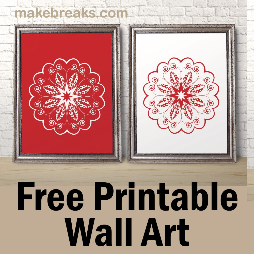 Free Printable Wall Art – Red and White Flower