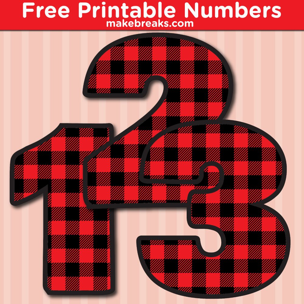 Free Printable Bold Red Plaid Numbers
