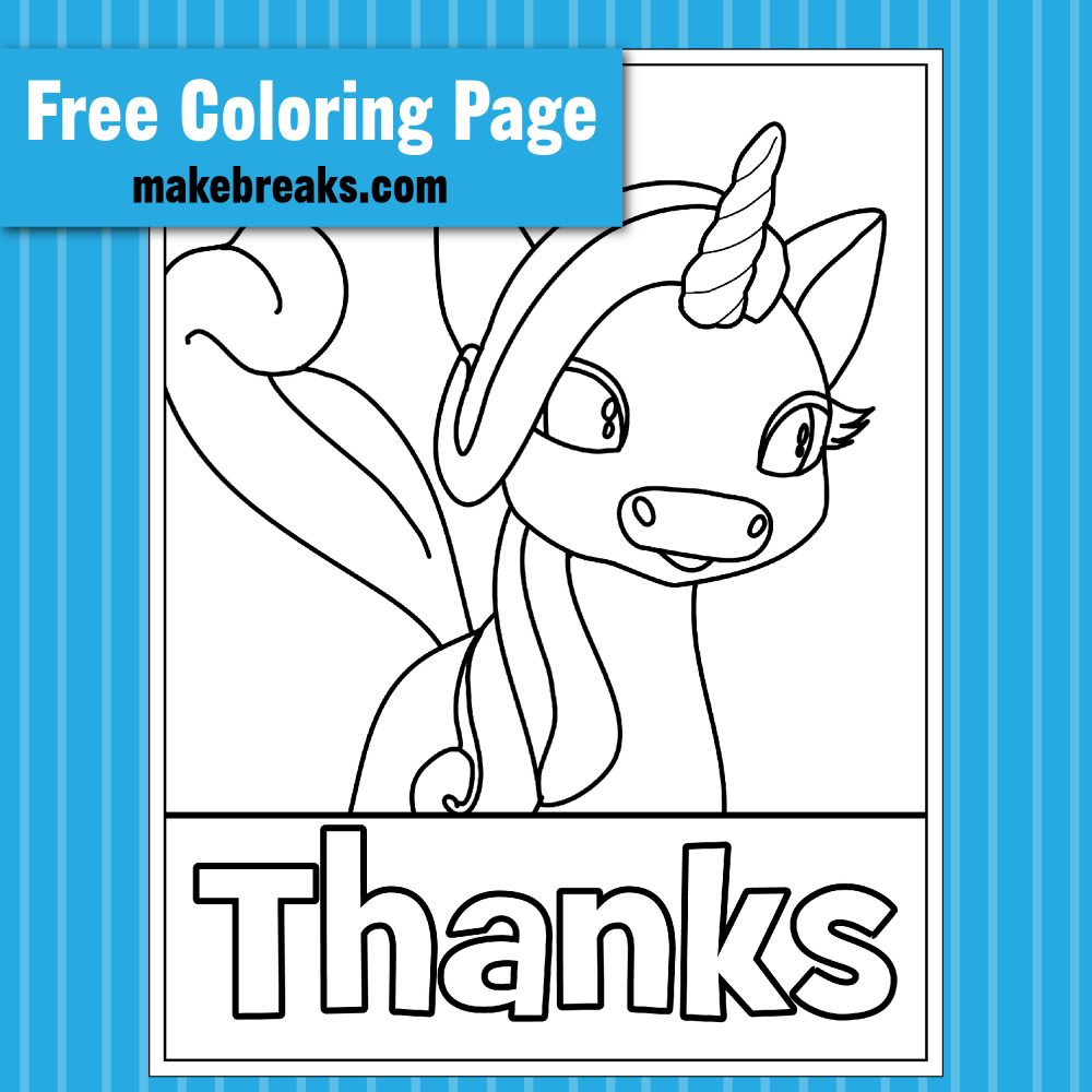 'Thanks' Thanksgiving Unicorn Coloring Page