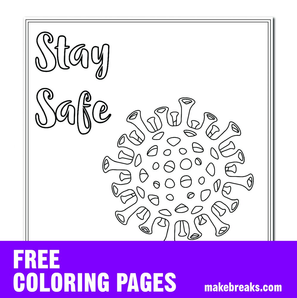 Free Stay Safe Virus Awareness Coloring Page