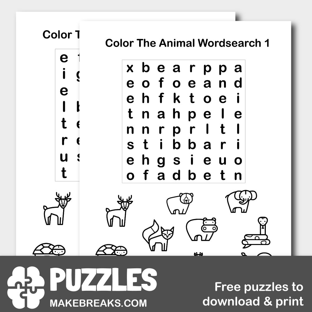 Color The Animals Wordsearch