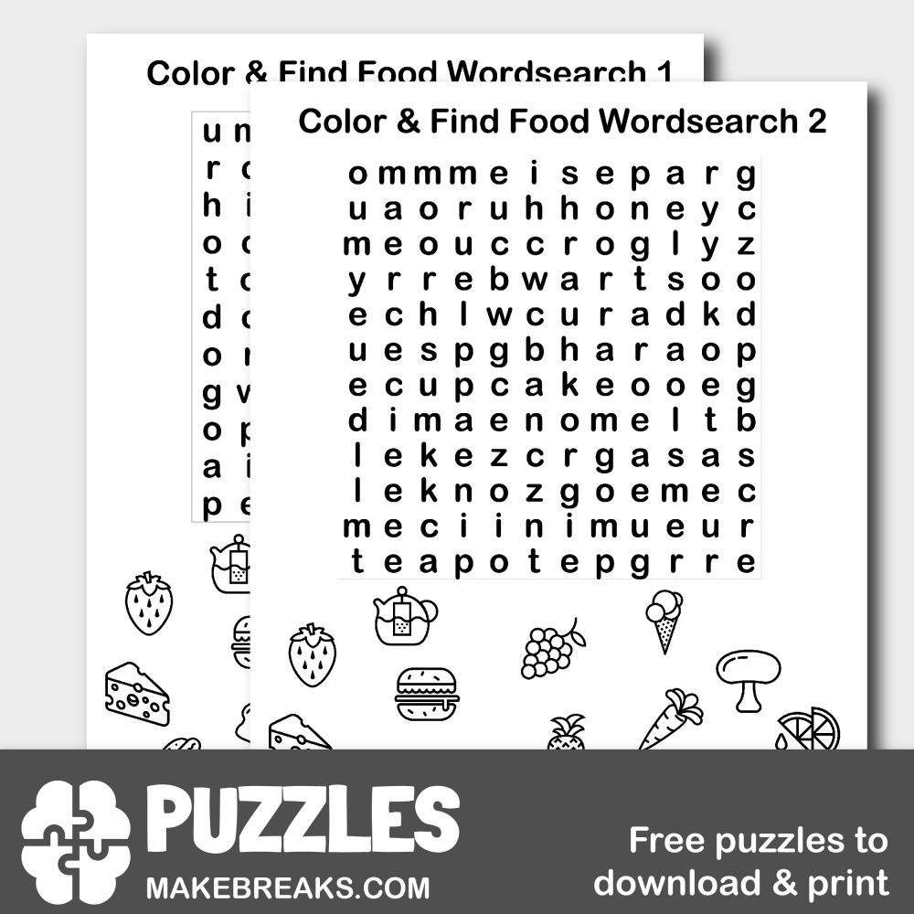 Color The Food Wordsearch