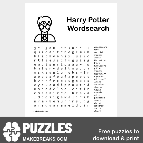 Harry Potter Wordsearch Puzzle